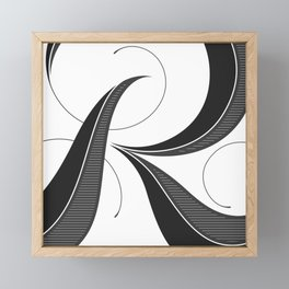 Letter R - Script Lettering Cropped Design Framed Mini Art Print