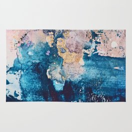Breathe Again: a vibrant mixed-media piece in blues pinks and gold by Alyssa Hamilton Art Rug