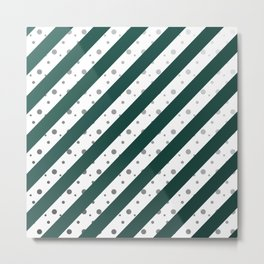 Stripes and dots (Green) Metal Print