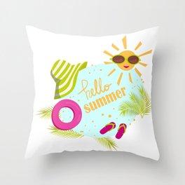 Hello summer sun sunglasses Throw Pillow
