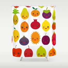 kawaii fruit Pear Mangosteen tangerine pineapple papaya persimmon pomegranate lime Shower Curtain