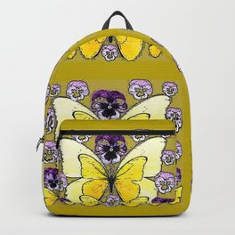 INK DRAWING PURPLE PANSY FLOWERS & YELLOW BUTTERFLIES Backpack