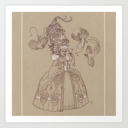 Baroque Bird Lady Art Print