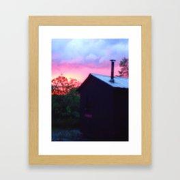 PINK SKY CANOE SHACK Framed Art Print