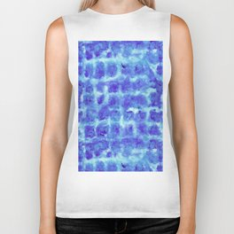 Tie Dye Shibori Water Cubes in Indigo Blue Biker Tank