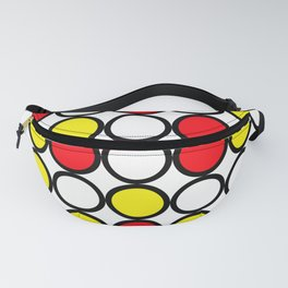 Abstract circle pattern grid with red and yellow colours Fanny Pack