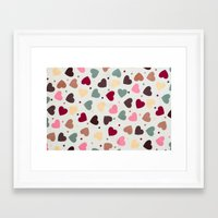 preppy Framed Art Prints featuring Preppy Hearts by Welovepillows