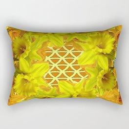 GOLDEN YELLOW SPRING DAFFODILS PATTERN GARDEN Rectangular Pillow