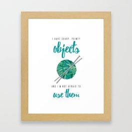 Funny Teal Knitter's Sharp Point Objects Framed Art Print