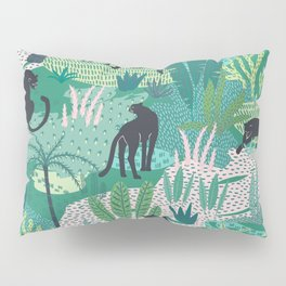 Panthers In Jungle Pattern Pillow Sham