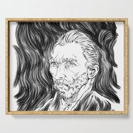 Van Gogh in black Serving Tray