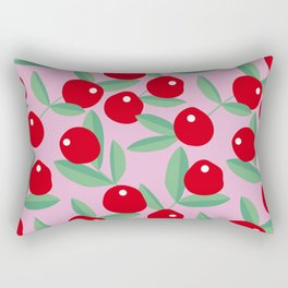 Christmas red berries fruit garden red pink green Rectangular Pillow