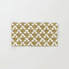 Faux White and Gold Glitter Small Damask Hand & Bath Towel
