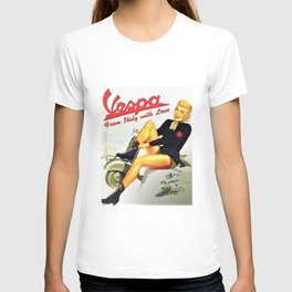 Vintage Vespa 'From Italy with Love' Motor Scooter Advertisement Poster T-shirt