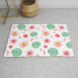 Watercolor blush pink green yellow water lilies lotus floral Rug