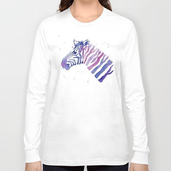 Zebra Watercolor Purple Stripes Animal Long Sleeve T-shirt