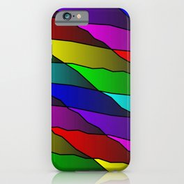 Slanting rainbow lines and rhombuses on red with intersection of glare. iPhone Case