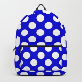 Royal Blue With Large White Polka Dots Backpack