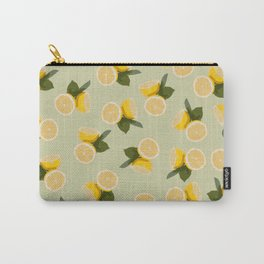 Yellow Citrus Lemon Fruit on Pale Lime Green Carry-All Pouch