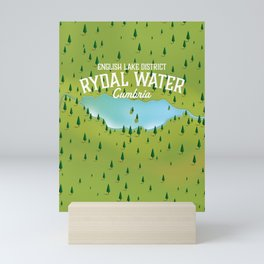 Rydal Water Cumbria Travel map Mini Art Print