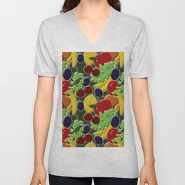 Different colorful juicy fruits on a green background Unisex V-Neck