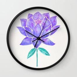Sacred Lotus Blossom – Amethyst Turquoise Wall Clock