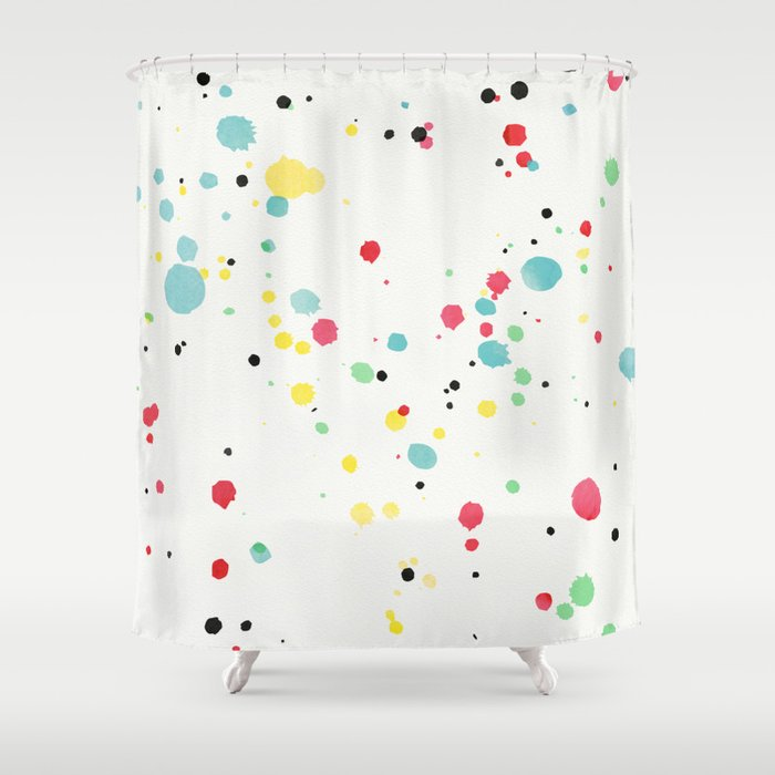 Watercolor Splatters On White Leather Shower Curtain By Miyagidesign