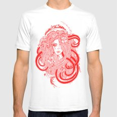 Rose Red.  MEDIUM White Mens Fitted Tee