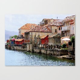 Beautiful villages on the banks of the bay Canvas Print