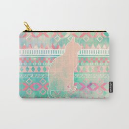 Whimsical Cat, Pink Turquoise Girly Aztec Pattern Carry-All Pouch