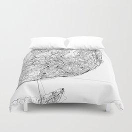 Lisbon White Map Duvet Cover