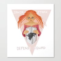 sansa Canvas Prints featuring Sansa Stark Defense Squad by laurarts