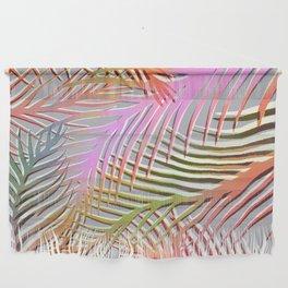 Palm Leaves Pattern - Pink, Gray, Orange Wall Hanging