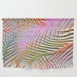 Palm Leaves Pattern - Pink, Gray, Orange Wall Hanging