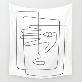 Square Face One Line Art Wall Tapestry