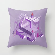 Den of the Headless Lion in Purple and Lavender Throw Pillow