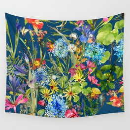 Watercolor flower garden with hummingbird Wall Tapestry