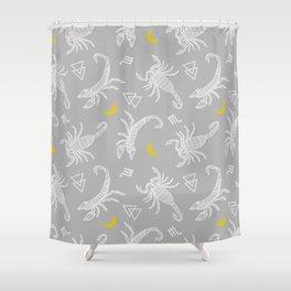 Scorpio Moon on Grey Shower Curtain