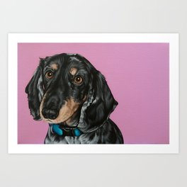 Sweet Double Dapple Dachshund Portrait, Weiner Dog Painting, Dachshund Painting Art Print