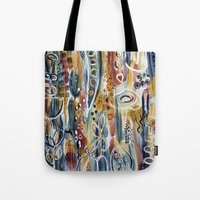 mid century modern Tote Bags featuring Mid-Century Modern Floral by katfish design