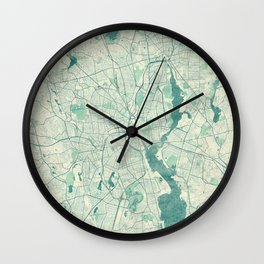 Providence Map Blue Vintage Wall Clock