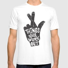 THINGS WILL WORK OUT White MEDIUM Mens Fitted Tee