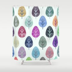 Watercolor Forest Pattern Shower Curtain