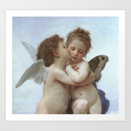 CUPID AND PSYCHE AS CHILDREN - WILLIAM ADOLPHE BOUGUEREAU  Art Print