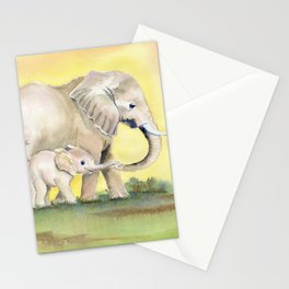 Colorful Mom and Baby Elephant 2 Stationery Cards
