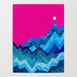 The hight waves under a small moon Poster