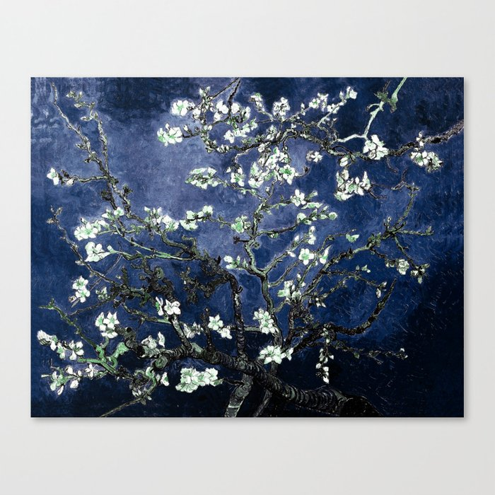 Vincent Van Gogh Almond Blossoms Dark Blue Leinwanddruck