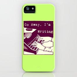 Go Away, I'm Writing (purple/cream) iPhone Case