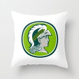 Minerva Wearing Laurel Circle Retro Throw Pillow