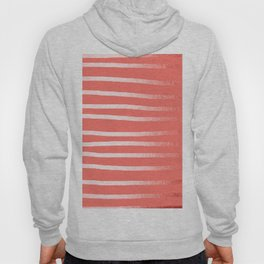 Living Coral Rose Gold Simply Drawn Stripes Hoody